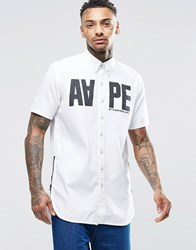 Aape By A Bathing Ape Basic Short Sleeve Shirt In Slim Fit White
