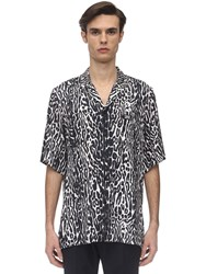 Burberry S S Leopard Print Viscose Shirt Multicolor