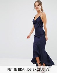 Jarlo Petite Cami Strap Slinky High Low Midi Dress Navy