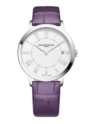 Baume And Mercier Classima Stainless Steel And Alligator Strap Watch Silver Purple