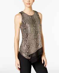 Msk Layered Metallic Animal Print Blouse Gold Black