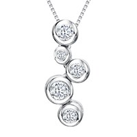 Jools By Jenny Brown Cubic Zirconia 5 Circle Pendant Necklace Silver