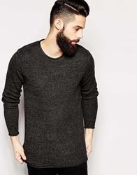 Only And Sons Knitted Crew Neck Jumper With Raw Edge Darkgreymarl