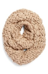 Women's Collection Xiix Crochet Infinity Scarf Beige Frosted Oatmeal