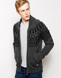 Fred Perry Cardigan With Nordic Pattern Grey