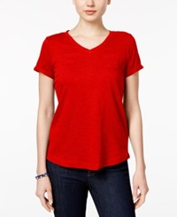 Style And Co Petite V Neck Pocket T Shirt Only At Macy's New Red Amore