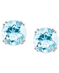 Macy's 14K White Gold Aquamarine Stud Earrings 3 Ct. T.W. Blue