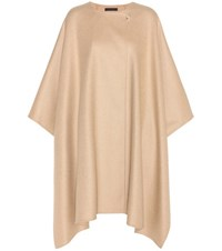 The Row Marcella Virgin Wool Cashmere And Silk Cape Beige