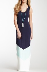 Loveappella Colorblock Tank Maxi Dress Blue