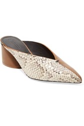 Mercedes Castillo Natti Paneled Snake Effect And Smooth Leather Mules Snake Print