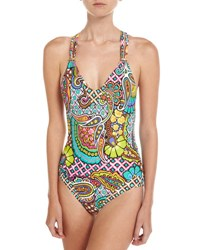 Trina Turk Madagascar One Piece T Back Swimsuit Multi Pattern