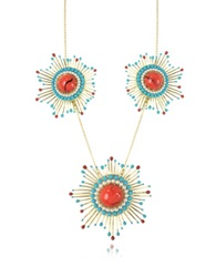 Les Nereides Gypsunset Red And Turquoise Necklace W 3 Suns