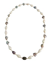 Bavna Baroque Freshwater Pearl And Diamond Rope Necklace
