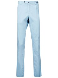 Pt01 Slim Fit Cropped Chino Trousers Blue