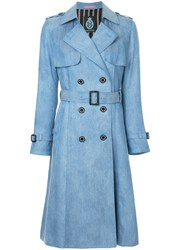 Guild Prime Denim Trench Coat Blue