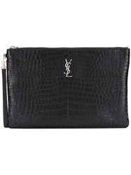 Saint Laurent Logo Plaque Clutch Black