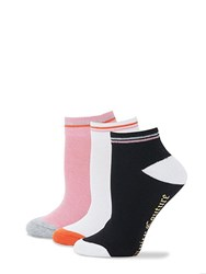 Juicy Couture Three Pack Striped Ankle Socks Pink White