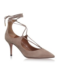 Aquazzura Christy Suede Pumps 75 Female Beige
