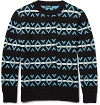 Raf Simons Jacquard Knit Woo Sweater Back Black