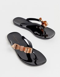 Ted Baker Suszie Black Flip Flop With Rose Gold Bow