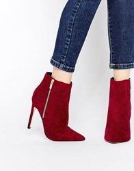 Asos Ecuador Wide Fit Pointed High Ankle Boots Burgundy