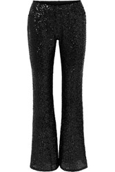 Anna Sui Sparkling Nights Sequined Mesh Flared Pants Black