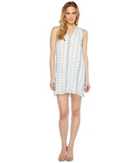 Dylan By True Grit Prarie Embroidered Trapeze Dress W Lining Vintage White Denim Women's Dress