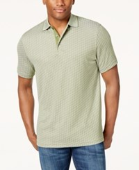 Tasso Elba Men's Supima Blend Jacquard Polo Created For Macy's Pickle Green