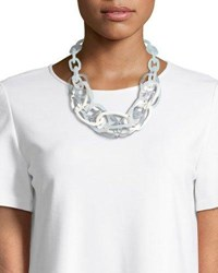 Lafayette 148 New York Multicolor Oval Chain Link Statement Necklace White Multi