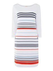 Barbour Long Sleeve Striped Whitby Dress White