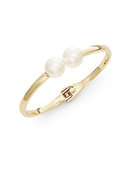 Cara Hinged Faux Pearl Bangle Bracelet Pearl Gold