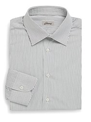 Brioni Striped Cotton Dress Shirt Nautical Stripe