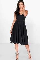 Boohoo Cut Out Bandeau Midi Skater Dress Black