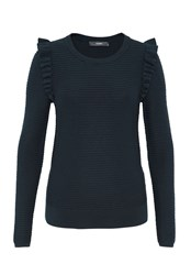 Hallhuber Rib Stitch Jumper With Ruffle Detail Navy