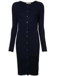 Brock Collection Long Ribbed Cardigan Blue