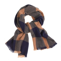 J.Crew Cashmere Scarf In Buffalo Check Navy Camel
