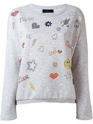 Twin Set Embroidered Sweatshirt Grey