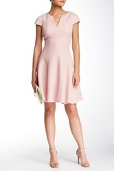 Julia Jordan Cap Sleeve Textured Neoprene Skater Dress Pink