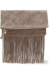Clare V. V Maison Fold Over Fringed Suede Clutch Gray