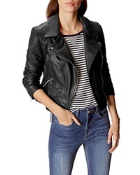 Karen Millen Signature Leather Moto Jacket Black