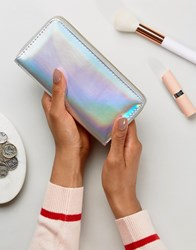 New Look Holographic Zip Around Purse Silver