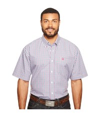 Cinch Short Sleeve Plain Weave Plaid White Men's Clothing