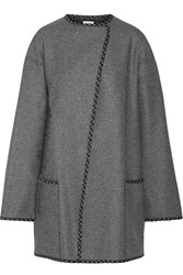 Suno Asymmetric Wool Blend Coat Gray