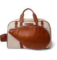 Brunello Cucinelli Full Grain Leather Trimmed Canvas Holdall Neutrals