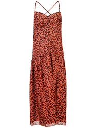 Michelle Mason Leopard Print Midi Dress Red
