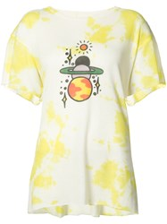 The Elder Statesman Planet Print T Shirt Women Silk Cashmere Xl White