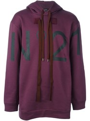 N 21 No21 Logo Print Hoodie Pink And Purple