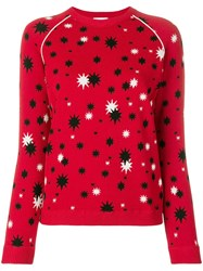 Red Valentino Star Pattern Knit Sweater Red
