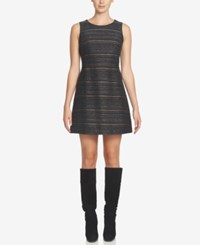 Cece Dallas Metallic Tweed Fit And Flare Dress Black