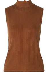 Rejina Pyo Rebecca Tie Neck Ribbed Stretch Tencel Jersey Top Brown